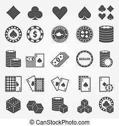 poker, ensemble, icônes