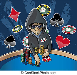 Cartoon-style illustration: young poker player with hood, eyeglasses and headphones, holding some chips. Grunge dark background with chips and card suits