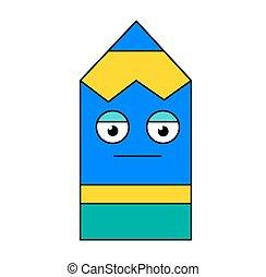 Poker face pencil emoji outline illustration