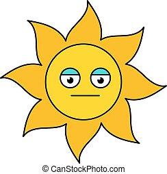 Poker face sun emoji outline illustration