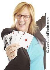 poker, femme, jouer