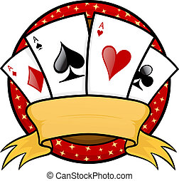 Four aces poker emblem vector illustration