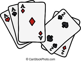 Funny hand drawing of full house of poker cards