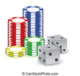 Poker gambling chips and set of dimes illustration design