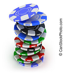 Poker gambling chips in pile - Poker gambling chips falling...