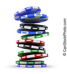 Poker gambling chips in pile - Poker gambling chips falling...