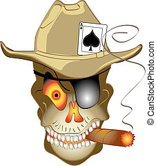 Evil, smiling skull or skeleton wearing a western style cowboy hat with an Ace of Spades card, smoking a cigar and ready for some gambling in Las Vegas! Perfect design for a T-Shirt, tin sign or decal.