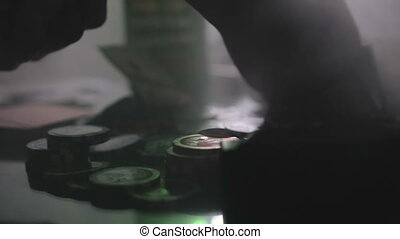Poker game in a dark casino