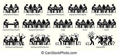 poker, gens, carte, jeu, mahjong, table., jouer