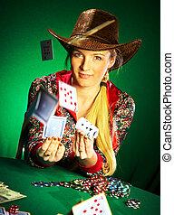 poker, giochi, ragazza, barba