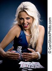 poker, girl