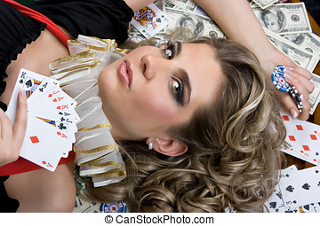 Poker girl won a lot of money - Cute poker girl with cards...