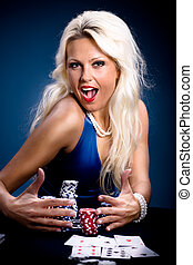 poker girl - young a woman playing poker