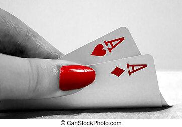 Poker Hand - Black & white & red poker hand
