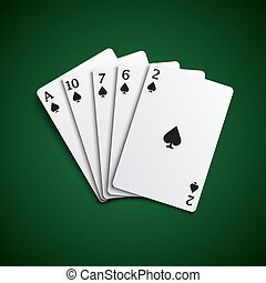 Poker hand cards flush combination template