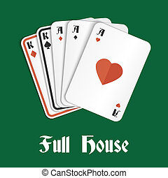 Casino poker gambling full house hand composition vector illustration