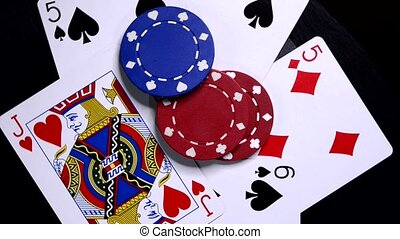 Poker Hand. - Playing card and poker chips.