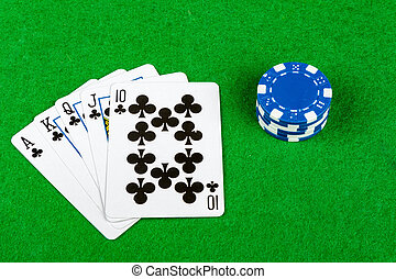 Poker hand Royal Flush Clubs With Betting Chips