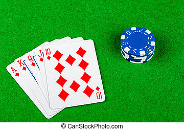 poker- hand, royal flush, diamanten, mit, wetten, späne
