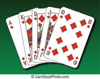 Poker hand - Royal flush diamond