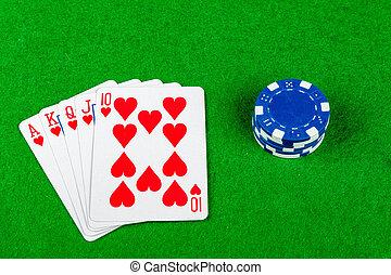 poker- hand, royal flush, herzen, mit, wetten, späne