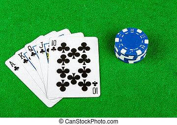 poker- hand, royal flush, kreuz, mit, wetten, späne
