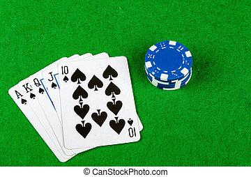 poker- hand, royal flush, spaten, mit, wetten, späne