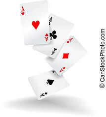 poker- hand, vier, karten, asse, spielende
