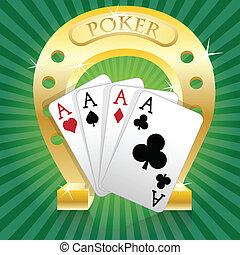 Poker-Horseshoe - Illustration of poker and gold horseshoe...