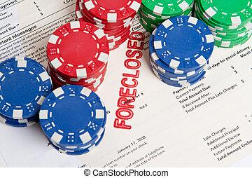 poker, ipoteca, casa, foreclosed, patatine fritte, scommessa