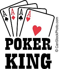 Poker king with four aces playings cards suits