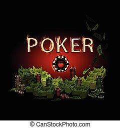 Poker legend fire. Money on a dark background.