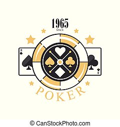 Poker logo design since 1965, emblem with gambling elements for poker club, casino, championship vector Illustration on a white background
