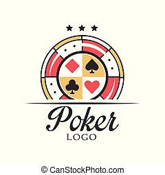 Poker logo, vintage emblem with dice for poker club, casino, championship vector Illustration on a white background