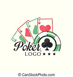 Poker logo, vintage emblem with gambling elements for poker club, casino, championship vector Illustration on a white background