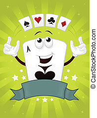 Poker Master - Ace of spades vector cartoon mascot with...