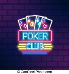 Poker neon sign design vector flat illustration. Casino glowing light signboard isolated on brick wall background. Symbol of gambling with game cards. Trendy logo with design elements.