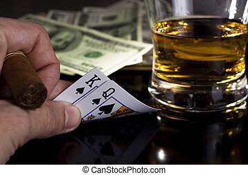 poker night - poker playing cards dollars and a whiskey...