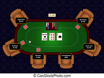 Poker Online Flop - Online poker table with flop revealed in...