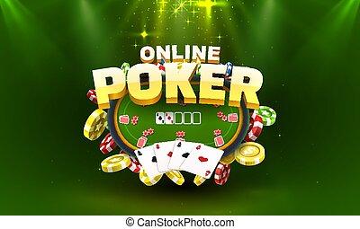 Poker online gamble, game play banner, club sport. Vector