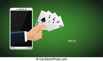 Poker online game HD animation - Hand with poker cards...