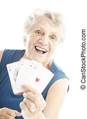 poker, personne âgée femme, jouer