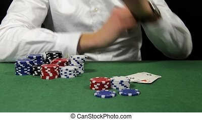 Poker player folding - Poker player with a bad hand loses...