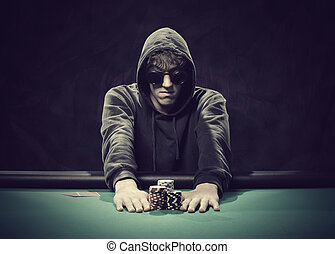 Professional poker player betting everything on one hand