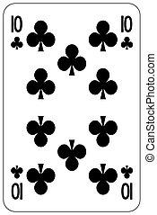 Poker playing card 10 club