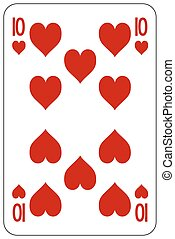 Poker playing card 10 heart