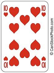 Poker playing card 10 heart