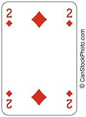 Poker playing card 2 diamond