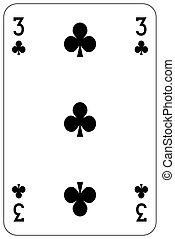 Poker playing card 3 club