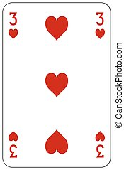 Poker playing card 3 heart